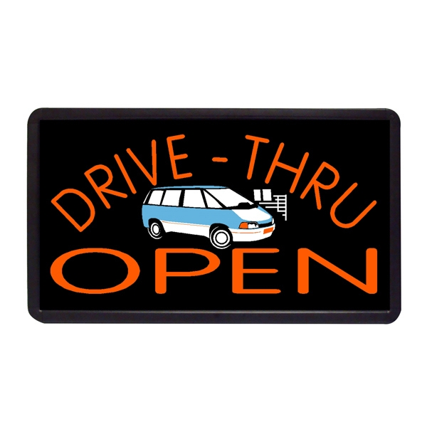 "Drive Thru Open Sign 13"" x 24"" Simulated Neon Sign - Custom Simulated Neon Sign.  13"" x 24"" Ready Made Title Light Box Drive Thru Open Si"