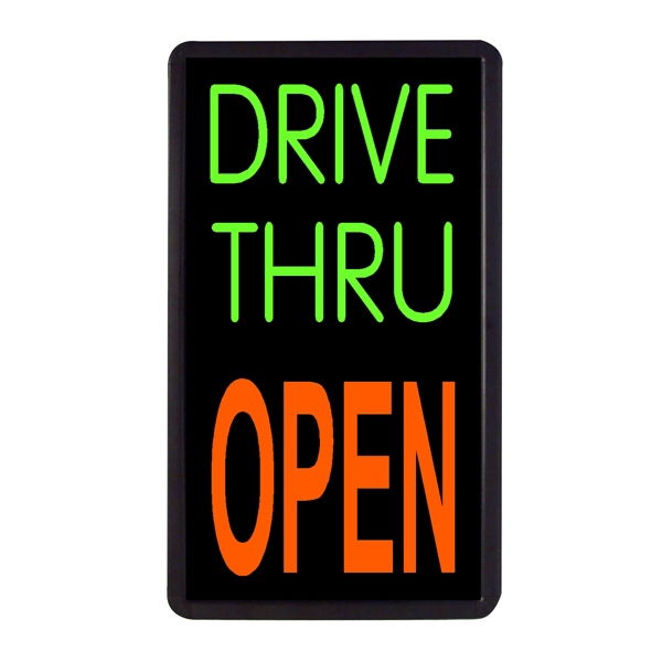 "Drive Thru Open Vertical Sign 13"" x 24"" Simulated Neon Sign - Custom Simulated Neon Sign.  13"" x 24"" Ready Made Title Light Box Drive Thru Open Vertical Sign"