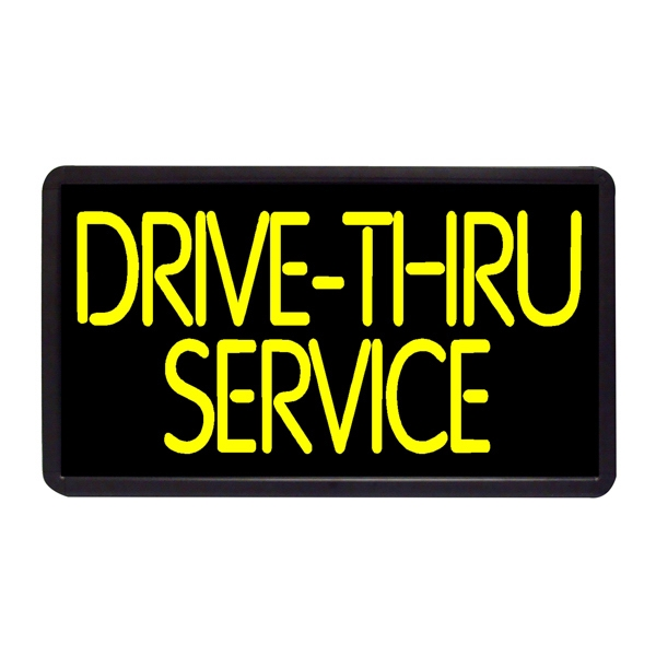 "Drive Thru Service 13"" x 24"" Simulated Neon Sign - Custom Simulated Neon Sign.  13"" x 24"" Ready Made Title Light Box  Drive Thru Servic"