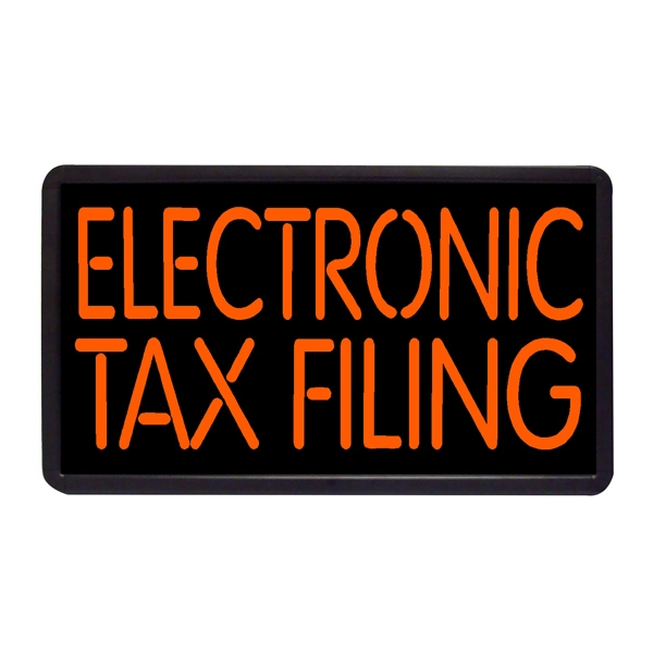 """Electronic Tax Filing 13"""" x 24"""" Simulated Neon Sign - Custom Simulated Neon Sign.  13"""" x 24"""" Ready Made Title Light Box Electronic Tax Fil"""