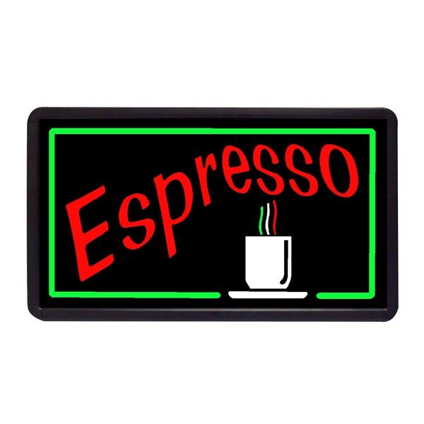 "Espresso 13"" x 24"" Simulated Neon Sign - Custom Simulated Neon Sign.  13"" x 24"" Ready Made Title Light Box Espresso"