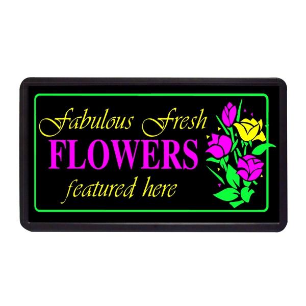 "Fabulous Fresh Flowers 13"" x 24"" Simulated Neon Sign - Custom Simulated Neon Sign.  13"" x 24"" Ready Made Title Light Box Fabulous Fresh Flo"