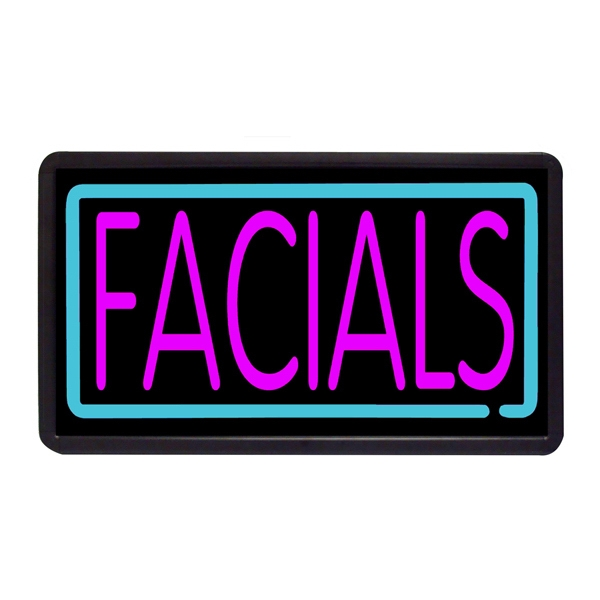 "Facials 13"" x 24"" Simulated Neon Sign - Custom Simulated Neon Sign.  13"" x 24"" Ready Made Title Light Box Facials"