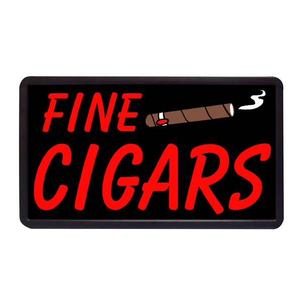 "Fine Cigars 13"" x 24"" Simulated Neon Sign - Custom Simulated Neon Sign.  13"" x 24"" Ready Made Title Light Box Fine Cigars"