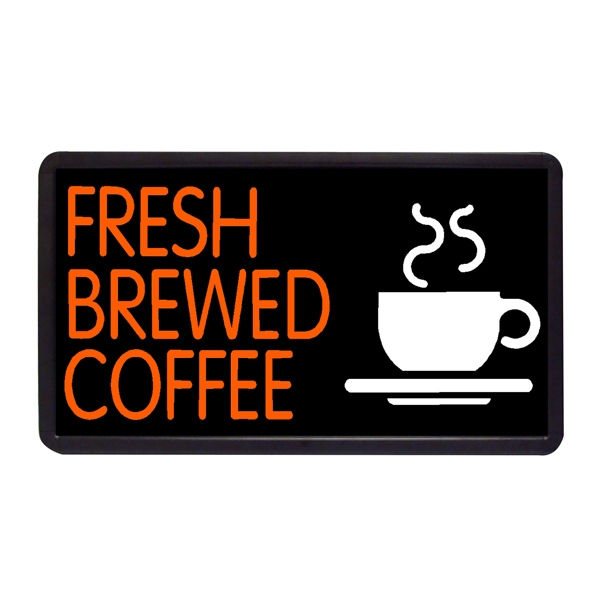 """Fresh Brewed Coffee 13"""" x 24"""" Simulated Neon Sign - Custom Simulated Neon Sign.  13"""" x 24"""" Ready Made Title Light Box  Fresh Brewed Coff"""