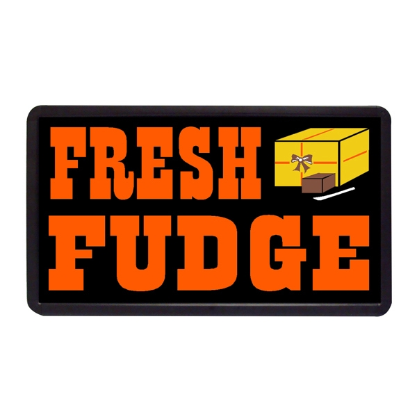 "Fresh Fudge 13"" x 24"" Simulated Neon Sign - Custom Simulated Neon Sign.  13"" x 24"" Ready Made Title Light Box Fresh Fudge"