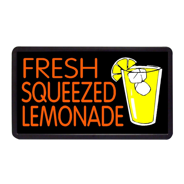 """Fresh Squeezed Lemonade 13"""" x 24"""" Simulated Neon Sign - Custom Simulated Neon Sign.  13"""" x 24"""" Ready Made Title Light Box Fresh Squeezed Lem"""