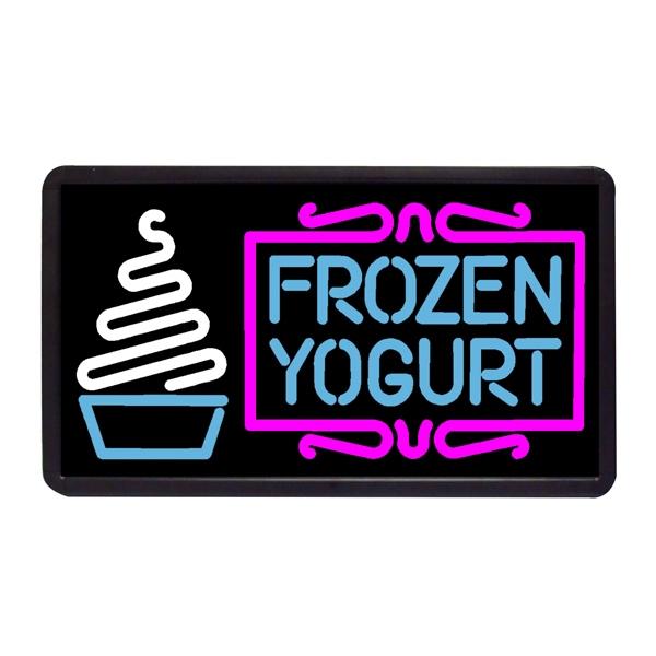 "Frozen Yogurt 13"" x 24"" Simulated Neon Sign - Custom Simulated Neon Sign.  13"" x 24"" Ready Made Title Light Box Frozen Yorgurt"