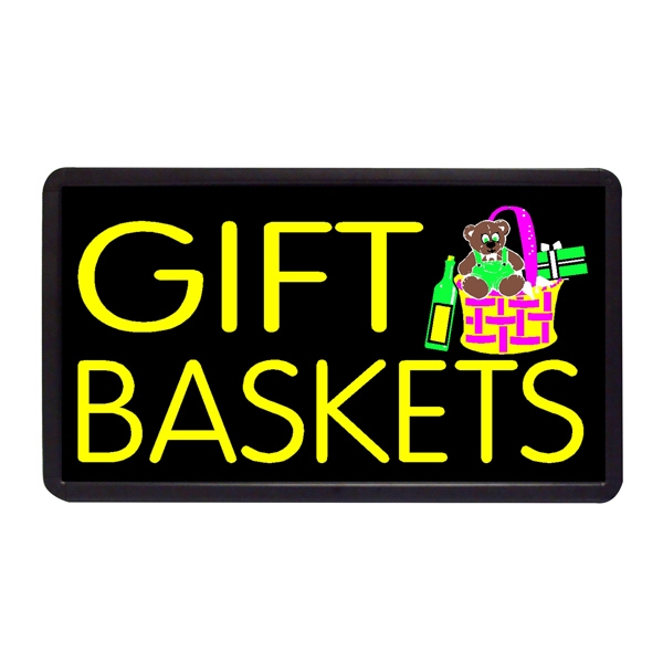 "Gift Baskets Gift Baskets 13"" x 24"" Simulated Neon Sign - Custom Simulated Neon Sign.  13"" x 24"" Ready Made Title Light Box Gift Baskets"