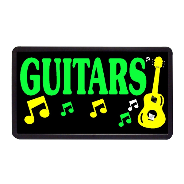 "Guitars Guitars 13"" x 24"" Simulated Neon Sign - Custom Simulated Neon Sign.  13"" x 24"" Ready Made Title Light Box Guitars"