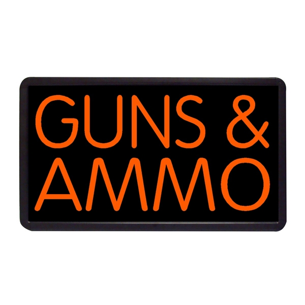 """Guns and Ammo 13"""" x 24"""" Simulated Neon Sign - Custom Simulated Neon Sign.  13"""" x 24"""" Ready Made Title Light Box Guns and Ammo"""