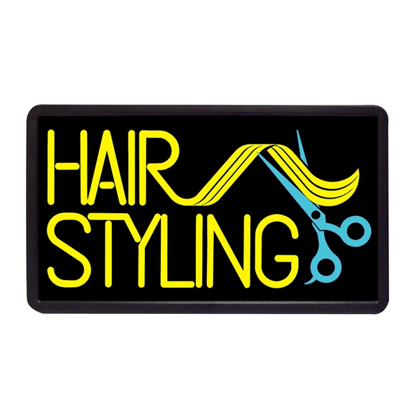 "Hair Styling 13"" x 24"" Simulated Neon Sign - Custom Simulated Neon Sign.  13"" x 24"" Ready Made Title Light Box Hair Styling"