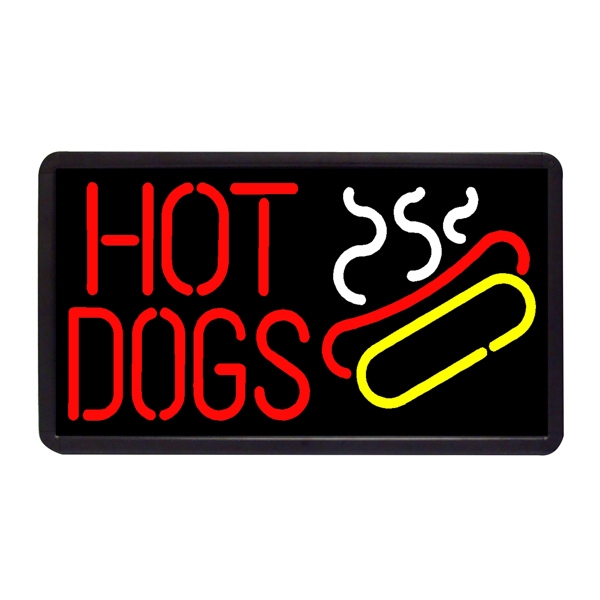"Hot Dogs 13"" x 24"" Simulated Neon Sign - Custom Simulated Neon Sign.  13"" x 24"" Ready Made Title Light Box Hot Dogs"