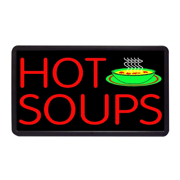 "Hot Soup 13"" x 24"" Simulated Neon Sign - Custom Simulated Neon Sign.  13"" x 24"" Ready Made Title Light Box Hot Soup"