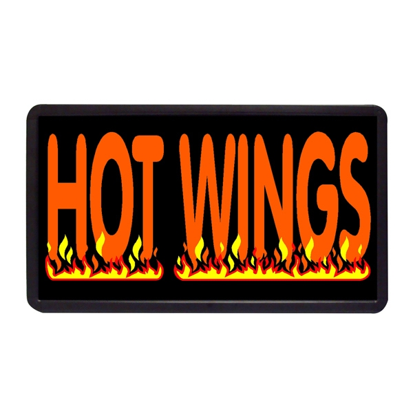 """Hot Wings 13"""" x 24"""" Simulated Neon Sign - Custom Simulated Neon Sign.  13"""" x 24"""" Ready Made Title Light Box Hot Wings"""