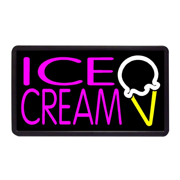"Ice Cream- Single Cone 13"" x 24"" Simulated Neon Sign - Custom Simulated Neon Sign.  13"" x 24"" Ready Made Title Light Box  Ice Cream- Single"