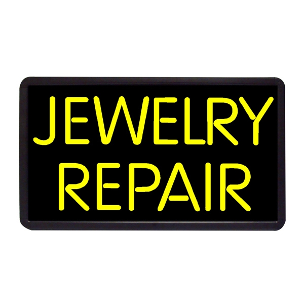 "Repair Jewelry Repair 13"" x 24"" Simulated Neon Sign - Custom Simulated Neon Sign.  13"" x 24"" Ready Made Title Light Box Jewelry Repair"