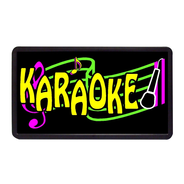 "Karaoke 13"" x 24"" Simulated Neon Sign - Custom Simulated Neon Sign.  13"" x 24"" Ready Made Title Light Box Karaoke"