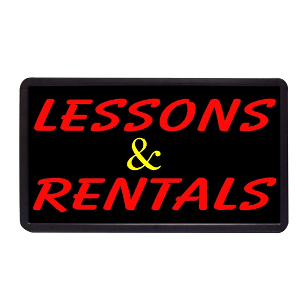 """Lessons and Rentals 13"""" x 24"""" Simulated Neon Sign - Custom Simulated Neon Sign.  13"""" x 24"""" Ready Made Title Light Box Lessons and Rental"""