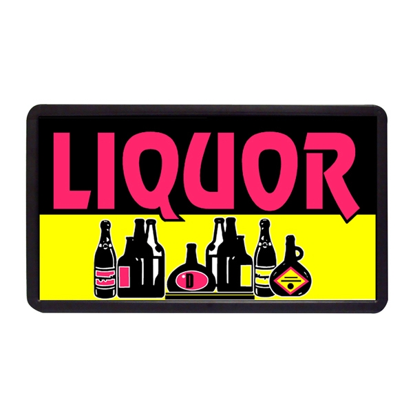 "Liquor 13"" x 24"" Simulated Neon Sign - Custom Simulated Neon Sign.  13"" x 24"" Ready Made Title Light Box Liquor"