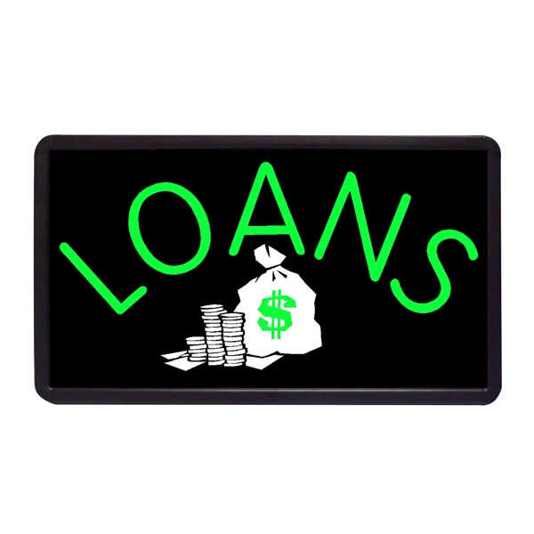 "Loans 13"" x 24"" Simulated Neon Sign - Simulated Neon Sign. 13"" x 24"" Ready Made Title Light Box Loans."