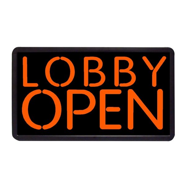 "Lobby Open Sign 13"" x 24"" Simulated Neon Sign - Custom Simulated Neon Sign.  13"" x 24"" Ready Made Title Light Box Lobby Open Sign"