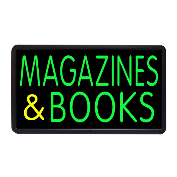 "Magazines and Books 13"" x 24"" Simulated Neon Sign - Custom Simulated Neon Sign.  13"" x 24"" Ready Made Title Light Box Magazines and Book"