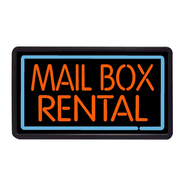 "Mail Box Rental 13"" x 24"" Simulated Neon Sign - Custom Simulated Neon Sign.  13"" x 24"" Ready Made Title Light Box Mail Box Rental"