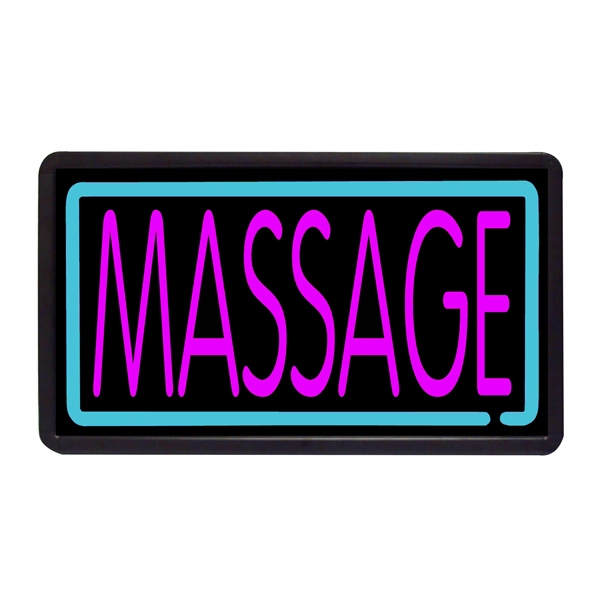 "Massage 13"" x 24"" Simulated Neon Sign - Custom Simulated Neon Sign.  13"" x 24"" Ready Made Title Light Box Massage"