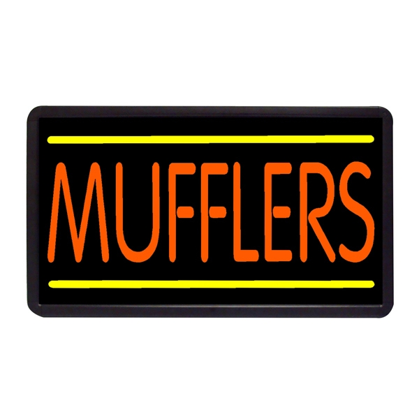 "Mufflers 13"" x 24"" Simulated Neon Sign - Custom Simulated Neon Sign.  13"" x 24"" Ready Made Title Light Box Mufflers"