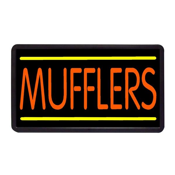 "Mufflers 13"" x 24"" Simulated Neon Sign - Custom Simulated Neon Sign.  13"" x 24"" Ready Made Title Light Box Mufflers"