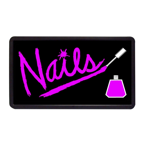 "Nails 13"" x 24"" Simulated Neon Sign - Custom Simulated Neon Sign.  13"" x 24"" Ready Made Title Light Box Nails"
