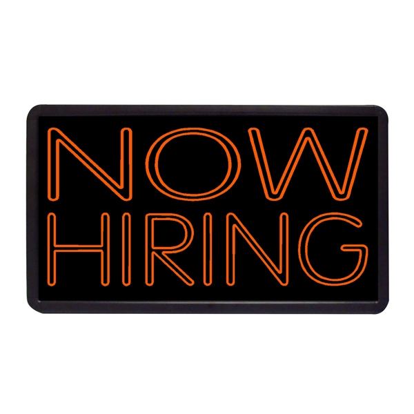 "Now Hiring 13"" x 24"" Simulated Neon Sign - Custom Simulated Neon Sign.  13"" x 24"" Ready Made Title Light Box Now Hiring"