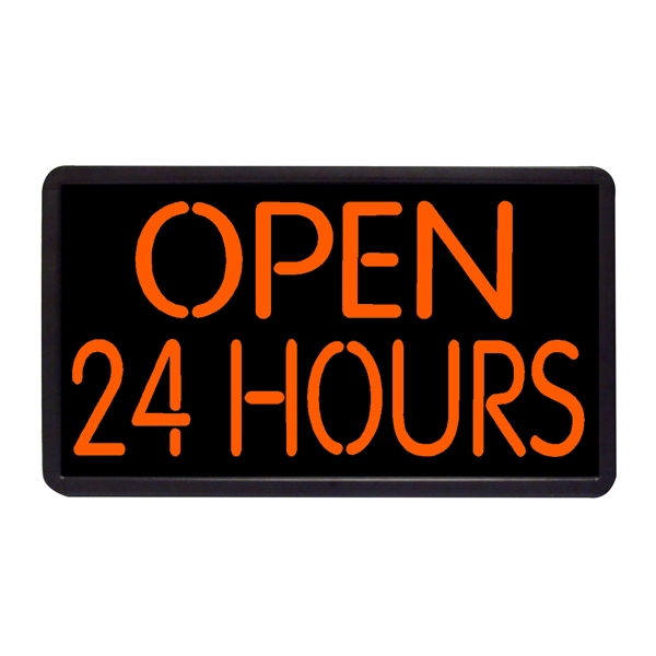 """Open 24 Hours Sign Open Sign 13"""" x 24"""" Simulated Neon Sign - Custom Simulated Neon Sign.  13"""" x 24"""" Ready Made Title Light Box Open Red and Blue."""