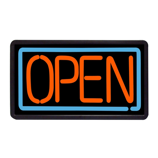 "Open Sign 13"" x 24"" Simulated Neon Sign - Custom Simulated Neon Sign.  13"" x 24"" Ready Made Title Light Box Open Red and Blue."