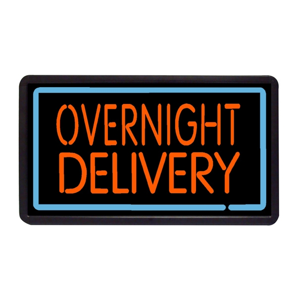 "Overnight Delivery 13"" x 24"" Simulated Neon Sign - Custom Simulated Neon Sign, 13"" x 24"" Ready Made Title Light Box  Overnight Deliver"