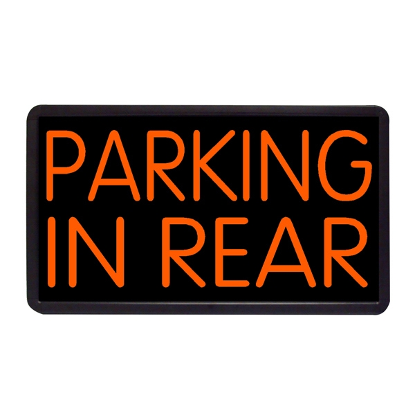 "Parking in Rear 13"" x 24"" Simulated Neon Sign - Custom Simulated Neon Sign.  13"" x 24"" Ready Made Title Light Box Parking in Rear"