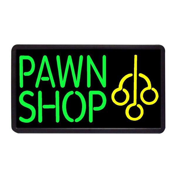 """Pawn Shop 13"""" x 24"""" Simulated Neon Sign - Custom Simulated Neon Sign.  13"""" x 24"""" Ready Made Title Light Box Pawn Shop"""