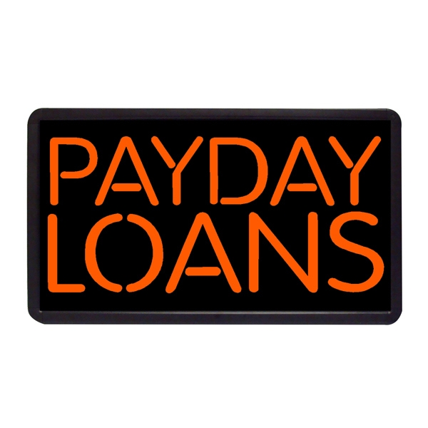 """Payday Loans 13"""" x 24"""" Simulated Neon Sign - Custom Simulated Neon Sign.  13"""" x 24"""" Ready Made Title Light Box Payday Loans"""