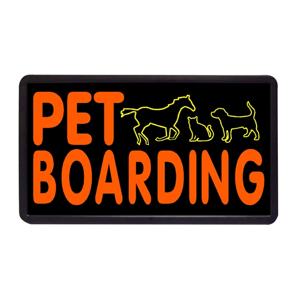 """Pet Boarding 13"""" x 24"""" Simulated Neon Sign - Custom Simulated Neon Sign.  13"""" x 24"""" Ready Made Title Light Box Pet Boarding"""