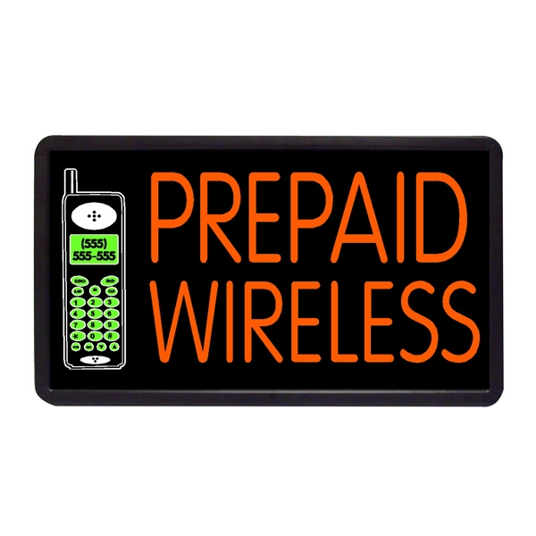 "Prepaid Wireless 13"" x 24"" Simulated Neon Sign - Custom Simulated Neon Sign.  13"" x 24"" Ready Made Title Light Box  Prepaid Wireless"