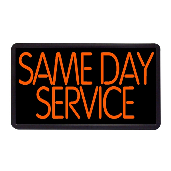 "Same Day Service 13"" x 24"" Simulated Neon Sign - Custom Simulated Neon Sign.  13"" x 24"" Ready Made Title Light Box  Same Day Service"