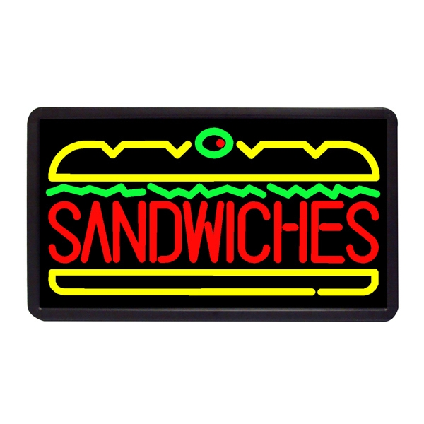 "Sandwiches 13"" x 24"" Simulated Neon Sign - Custom Simulated Neon Sign.  13"" x 24"" Ready Made Title Light Box Sandwiches"