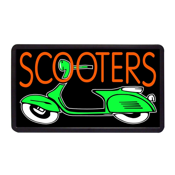 "Scooters 13"" x 24"" Simulated Neon Sign - Custom Simulated Neon Sign.  13"" x 24"" Ready Made Title Light Box Scooters"