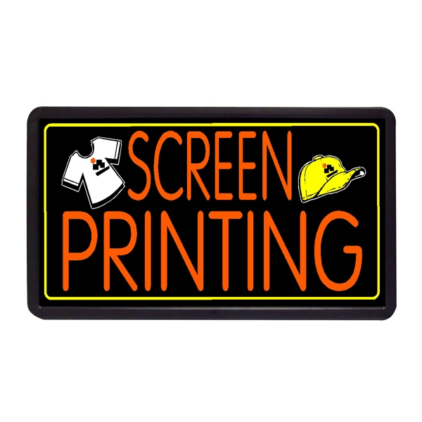"""Screen Printing 13"""" x 24"""" Simulated Neon Sign - Custom Simulated Neon Sign.  13"""" x 24"""" Ready Made Title Light Box, Screen Printing"""