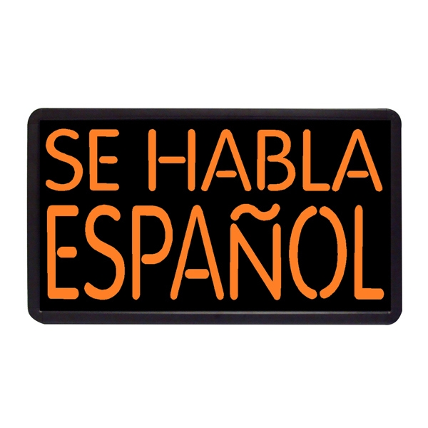 "Se Habla Espanol 13"" x 24"" Simulated Neon Sign - Custom Simulated Neon Sign.  13"" x 24"" Ready Made Title Light Box  Se Habla Espanol"