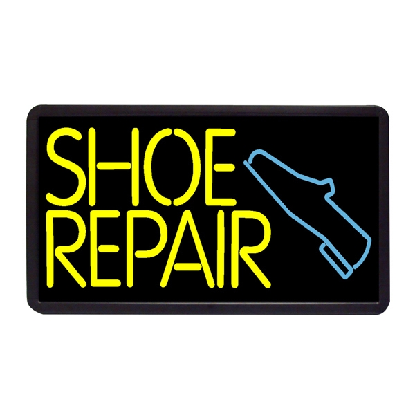 "Shoe Repair 13"" x 24"" Simulated Neon Sign - Custom Simulated Neon Sign.  13"" x 24"" Ready Made Title Light Box Shoe Repair"