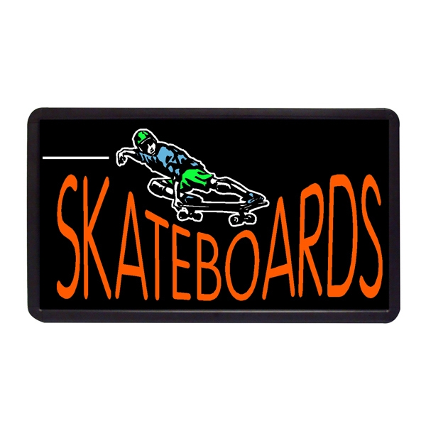 "Skateboards 13"" x 24"" Simulated Neon Sign - Custom Simulated Neon Sign.  13"" x 24"" Ready Made Title Light Box Skateboards"