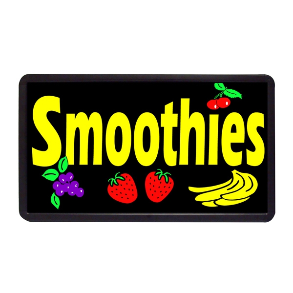 "Smoothies 13"" x 24"" Simulated Neon Sign - Custom Simulated Neon Sign.  13"" x 24"" Ready Made Title Light Box Smoothies"