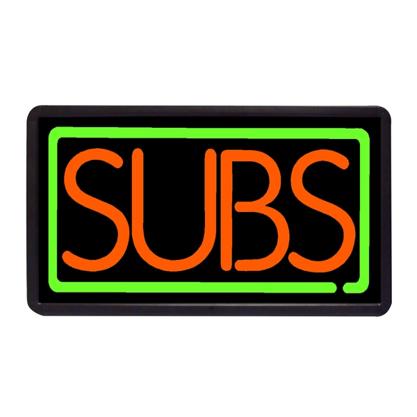 "Subs 13"" x 24"" Simulated Neon Sign - Custom Simulated Neon Sign.  13"" x 24"" Ready Made Title Light Box  Subs"